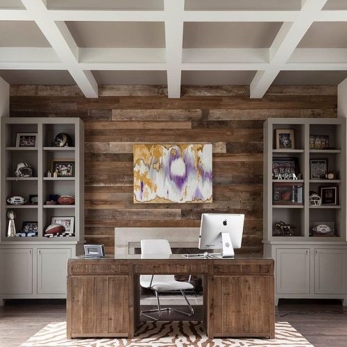 Reclaimed-wood-accent-wall-for-the-transitional-home-office
